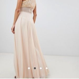 0a1cf588511 ASOS Dresses - Nude Crop Top Maxi Dress with Pearl Embellishment